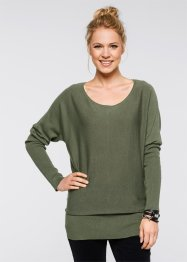 Longpullover, bpc bonprix collection, olijfgroen