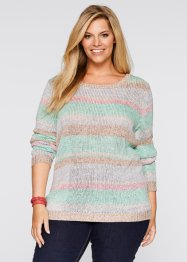 Trui, bpc bonprix collection, mentholblauw/roze gestreept