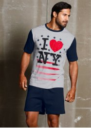 Shorty «I love NY», bpc bonprix collection, donkerblauw/grijs met print