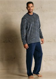 Badstof pyjama, bpc bonprix collection, donkerblauw/grijs