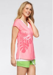 T-shirt+top (2-dlg. set), bpc bonprix collection, neonroze/wit