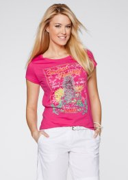 T-shirt, bpc bonprix collection, donkerpink met print