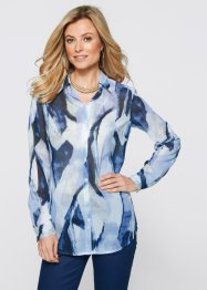 Longblouse, bpc selection, wit/donkerblauw gedessineerd