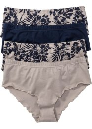 Tailleslip (set van 4), bpc bonprix collection, natuursteen/donkerblauw gedessineerd