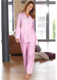 Flanellen pyjama, bpc bonprix collection, aqua/wit