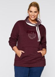 Sweatshirt, bpc bonprix collection, ahornrood gemêleerd met print