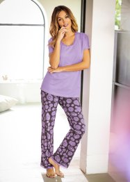Pyjama, bpc bonprix collection, lila/leisteengrijs gedessineerd