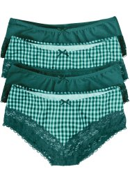 Tailleslip (set van 4), bpc bonprix collection, pastelmint/petrol