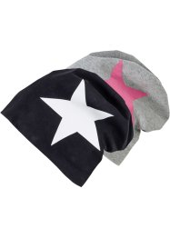 Beanie (set van 2), bpc bonprix collection, zwart/wit+grijs/pink ster