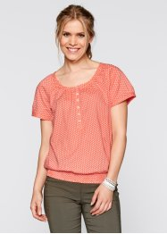 Blouse, bpc bonprix collection, zalmkleur/wit gestippeld