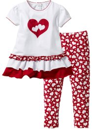 Babyshirt+legging (2-dlg. set), bpc bonprix collection, wit/donkerrood gedessineerd