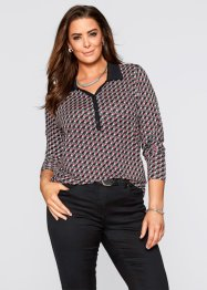Shirtblouse, bpc selection, rood/zwart/wit gedessineerd