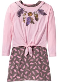 Shirtjurk+longsleeve (2-dlg. set), bpc bonprix collection, roze poudre/middenbruin gedessineerd