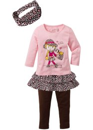 Shirt+rok+legging+haarlint (4-dlg. set), bpc bonprix collection, roze poudre/donkerbruin luipaardpatroon