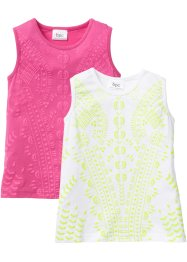 Top (set van 2), bpc bonprix collection, pink+wit