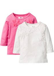 Shirt (set van 2), bpc bonprix collection, wolwit+pink