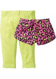 Short+legging (2-dlg. set), bpc bonprix collection, pink gedessineerd+kiwigroen