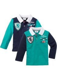 Poloshirt (set van 2), bpc bonprix collection, donkerblauw/smaragdgroen