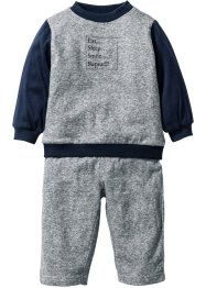 Sweatshirt+sweatbroek (2-dlg. set), bpc bonprix collection, zwart/wit gemêleerd