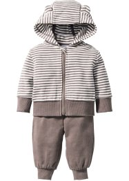 Sweatvest+sweatbroek (2-dlg. set), bpc bonprix collection, wit/taupe