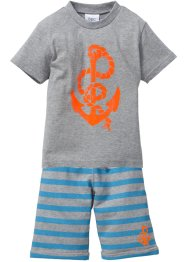 T-shirt+bermuda (2-dlg. set), bpc bonprix collection, lichtgrijs gemêleerd met print