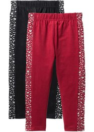 Legging (set van 2), bpc bonprix collection, zwart+donkerrood