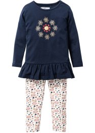 Longshirt+legging (2-dlg. set), bpc bonprix collection, donkerblauw/goudkleur gedessineerd
