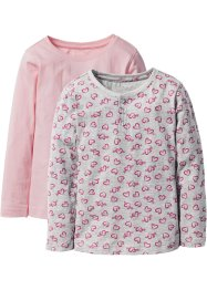 Shirt (set van 2), bpc bonprix collection, lichtgrijs gedessineerd+roze