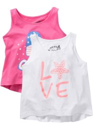 Top (set van 2), bpc bonprix collection, flamingopink/wit