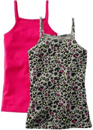 Top (set van 2), bpc bonprix collection, luipaardprint/donkerpink