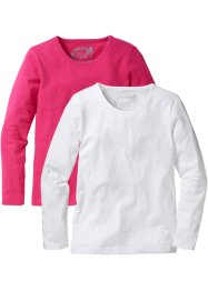 Longsleeve, bpc bonprix collection, donkerpink/wit