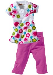 Longshirt+caprilegging (2-dlg. set), bpc bonprix collection, wit/pink