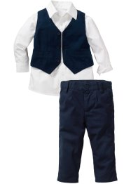 Overhemd+gilet+broek (3-dlg.), bpc bonprix collection, wit/donkerblauw