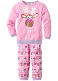 Pyjama (2-dlg.), bpc bonprix collection, roze met print