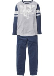 Pyjama (2-dlg. set), bpc bonprix collection, lichtgrijs gemêleerd/indigo