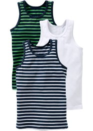 Singlet (set van 3), bpc bonprix collection, donkerblauw/groen/wit