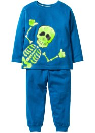 Glow-in-the-dark pyjama (2-dlg. set), bpc bonprix collection, blauw/skelet