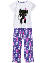 Pyjama (2-dlg.), bpc bonprix collection, wit/paarsblauw
