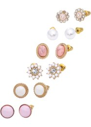 Oorbellen (12-dlg. set), bpc bonprix collection, goudkleur/roze