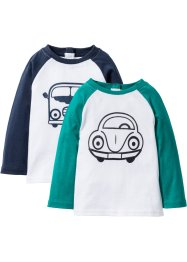Longsleeve (set van 2), bpc bonprix collection, wit/donkersmaragdgroen/donkerblauw