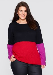 Trui, bpc bonprix collection, rood/zwart/middenfuchsia gedessineerd