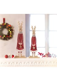 Kerstdecoratie «Rendier» (2-dlg. set), bpc living, rood/naturel/wit