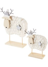Kerstdecoratie «Bea en Lea» (2-dlg. set), bpc living, naturel/wit