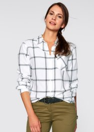 Blouse, bpc bonprix collection, wit/zwart geruit