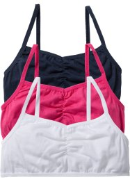 Bustier (set van 3), bpc bonprix collection, wit/donkerblauw/pink