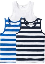 Singlet (set van 3), bpc bonprix collection, donkerblauw/azuurblauw/wit