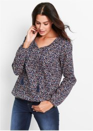 Blouse, bpc bonprix collection, donkerblauw gebloemd