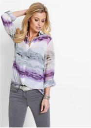 Blouse, bpc selection, wit/lila gedessineerd
