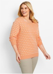 Trui, bpc bonprix collection, apricot/wit gestippeld