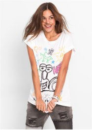 T-shirt, RAINBOW, wit met print